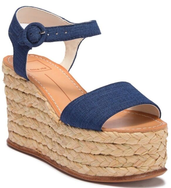 d80ddd1e6852  196 Dolce Vita Dane Espadrille Platform Wedge Sandal Indigo Linen Size 8.5