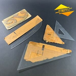 LOT-X4-VINTAGE-DIETZGEN-DRAFTING-SQUARES-amp-FRENCH-CURVES-MADE-IN-USA