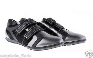 New-VERSACE-COLLECTION-Black-and-Silver-Leather-Sneakers-Shoes-42-9