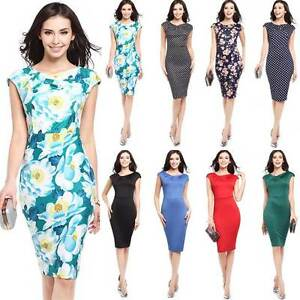 Women-Business-Pencil-Dress-Midi-Bodycon-Short-Sleeve-Party-Club-Floral-8-16-Hot
