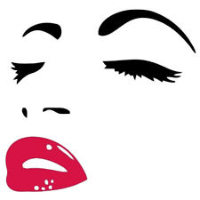Women Beauty Hepburn Eyes Red Lips Removable Room Decor Wall Sticker Decals CP