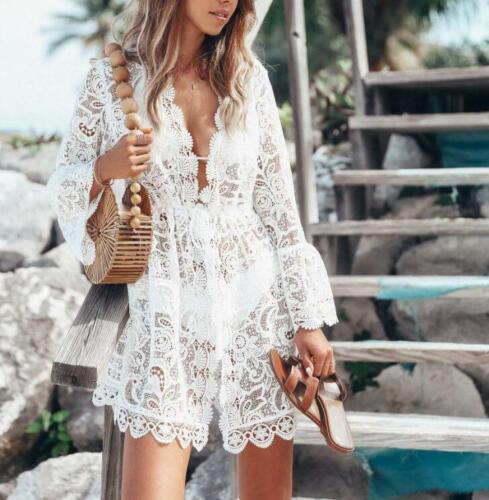 Women Boho Lace Dress Long Sleeve V-Neck Sundress White Dresses For Beach Summer