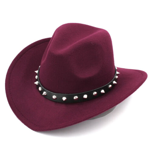 Fashion Unisexe Western Cowboy Chapeau Large Bord Cowgirl Cap Punk Rivets Bande en Cuir
