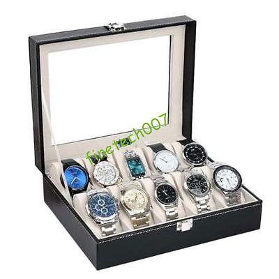 PU Leather 10 Slots Wrist Watch Display Box Storage Holder Organizer Case NEW U0