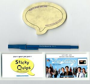 034-The-Office-034-used-prop-Blue-Pen-Sticky-Quips-Speech-Bubble-Balloon-LAST-ONE