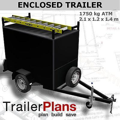 PLANS ON CD-ROM 2100x1200mm Trailer Plans 2.1m ENCLOSED BOX TRAILER PLANS