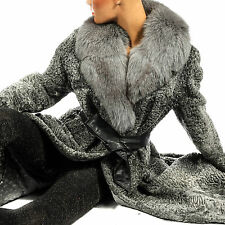 L-XL iesa abrigo de piel gris Gray Persian Lamb fur coat fox collar Fuchs