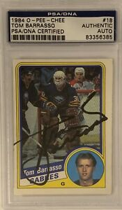 1984-1985-OPC-Tom-Barrasso-AUTO-PSA-DNA-RC-ROOKIE-18-AUTOGRAPH-Buffalo-Sabres