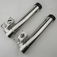 2pcs 316 Stainless Steel Adjustable Clamp On Fishing Rod Holder For Boat Yacht