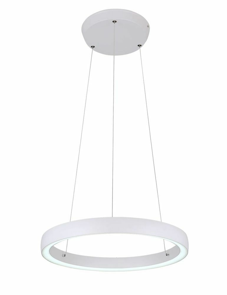 LED Pendelleuchte Phineas mattweiß Ø45cm 36W Kristalldiffusor UpDown 10743