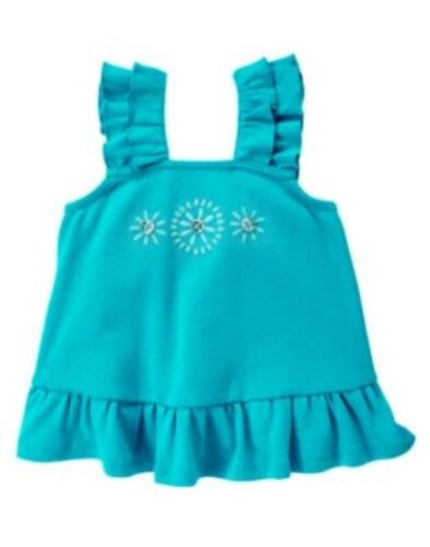 GYMBOREE AQUA SUMMER TURQUOISE STUDDED FLOWER TOP 3 6 12 18 24 2T 3T 4T 5T NWT