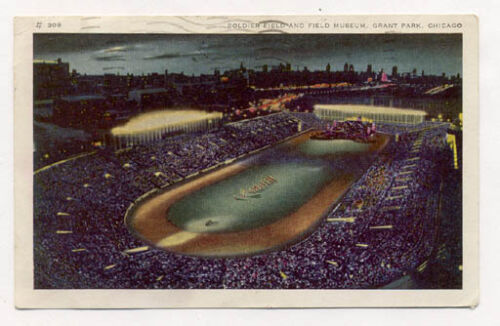 12 6 41 SOLDIER FIELD NITE VIEW CHICAGO POSTCARD PC7055