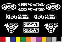 455 Ci V8 Powered 10 Decal Set Engine Olds Stickers Emblems Fender Badge Decals