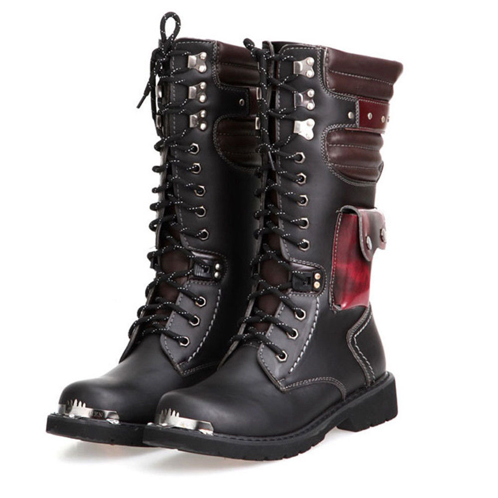 Men Leather Long Boots Motorcycle Knee High Boots Riding Military Army Boots