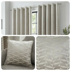 Curtina-KENDAL-Natural-Jacquard-Eyelet-Curtains-amp-Cushions