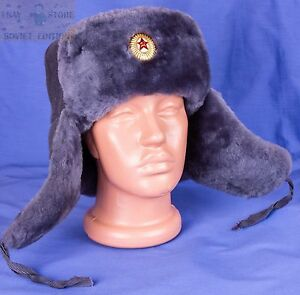 Image is loading Soviet-Army-USSR-Ushanka-Officer-winter-hat-size- 4c21b5ac5223
