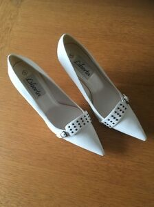 Liberta-Ladies-High-Heel-Shoes-In-White-Size-5-Style-Coupe