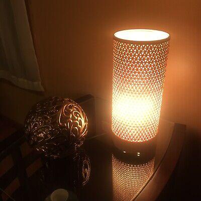 "Cylinder Table Lamp Bamboo Woven 16"" LED   eBay"