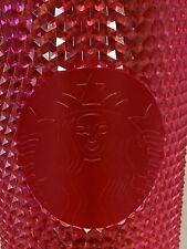 NEW STARBUCKS Red Studded Cold Cup Tumbler WINTER HOLIDAY 2019 24 oz Neon Pink