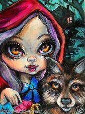 Aceo PRINT Little Red Riding Hood big eye zombie #104 art by Liquid Acid Eyes