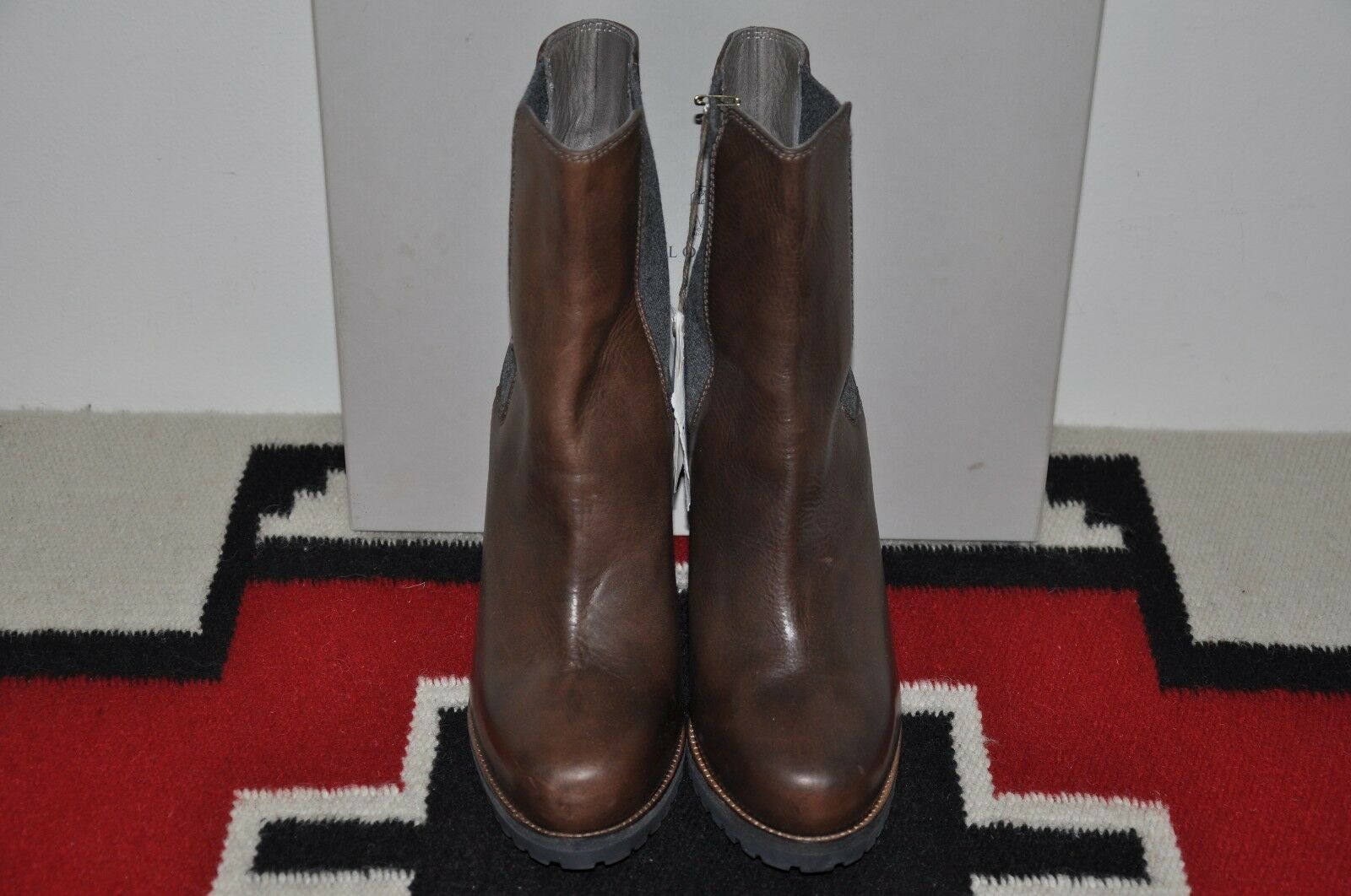 Brunello Cucinelli Made in Italy Dark Brown High Heel Leather Boots 41 US 11 D