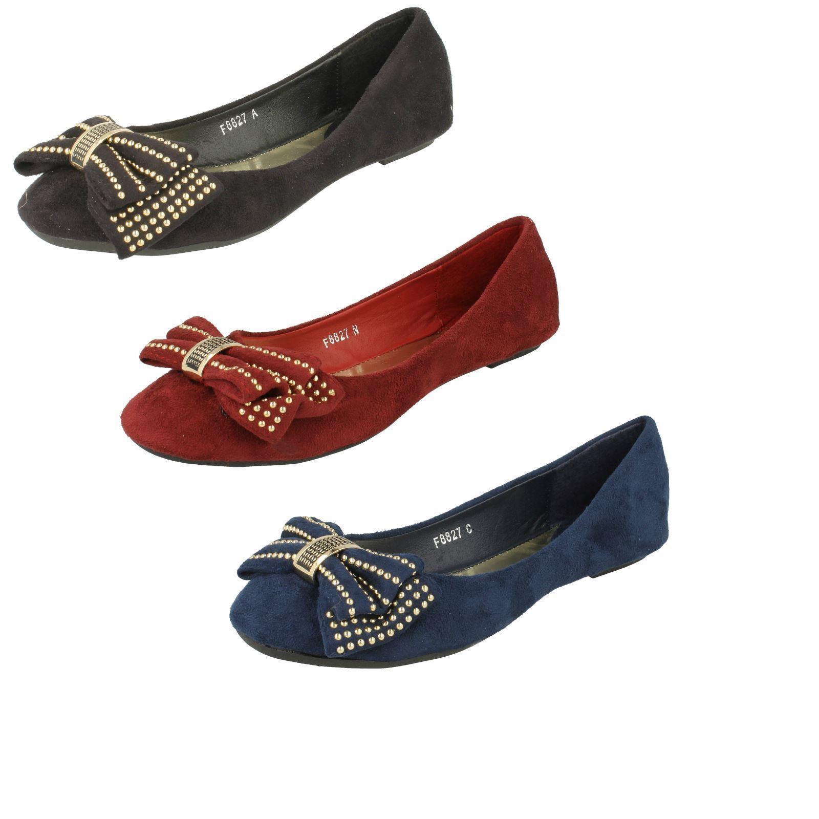 Mujer Spot On f8r827 Sin Cordones zapatos LAZO Planos Casual  zapatos Cordones  Bailarinas 57be8e