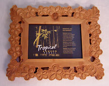"""Beautiful Tropical Bamboo Hawaii Carved Floral & Leaves Photo Frame 4-1/2"""" x 3"""""""