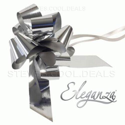 Silver Metallic Florist Pull Bows Waterproof Ribbon Gift Wrapping Wedding Car