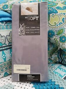 Catherine Lansfield So Soft Grey Non Iron Percale Double Fitted Sheet  BNIP
