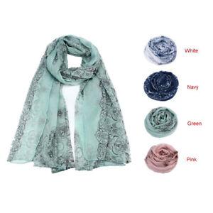 LADY-DONNA-Stile-Etnico-Stampa-voile-sciarpa-sciarpe-Protezione-Solare-Garza-Foulard