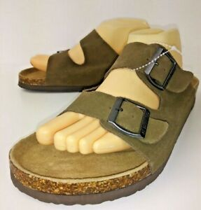 American-Eagle-Outfitters-6590-Mens-Sandals-US-11-Brown-Suede-Slides-New-691