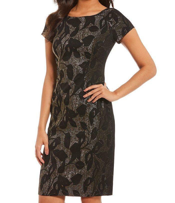 ADRIANNA PAPELL® 12 Metallic Jacquard Sheath Dress NWT
