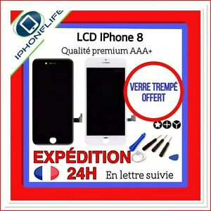 VITRE TACTILE + ECRAN LCD RETINA IPHONE 8 NOIR / BLANC AAA + OUTILS + FILM