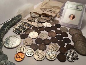 Old-US-Coin-Collection-1800-039-S-COINS-BU-90-SILVER-COINS-999-SILVER-60-COINS