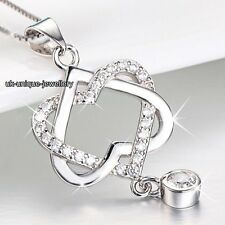 BLACK FRIDAY DEALS - 925 Silver Crystal Diamond Heart Necklace Xmas Gift For Her