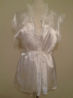 NEW LINEA DONATELLA EMBROIDERED CHEMISE ROBE THONG 3PC SET CH2091 IVORY SMALL