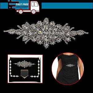 Rhinestone-Diamante-Silver-Crystal-Sew-on-Motif-Applique-Patch-Bridal-Wedding