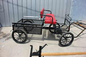 Details about New mini or pony size 4 wheel utility horse drawn carriage  shafts & POLE BLACK