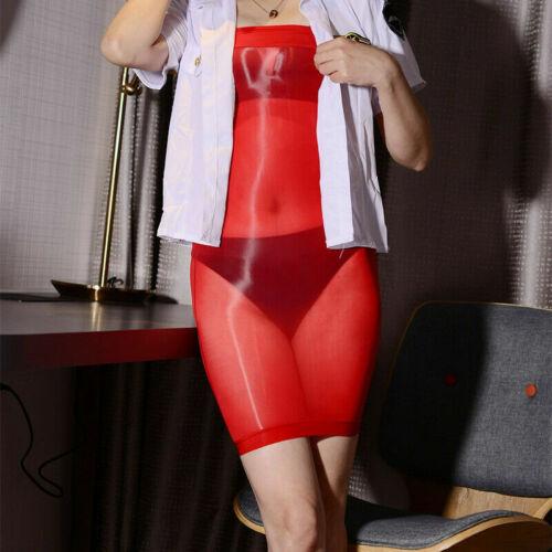 Damen 8den Glänzend Transparent Bodycon Minikleider Cocktail Partykleid Clubwear