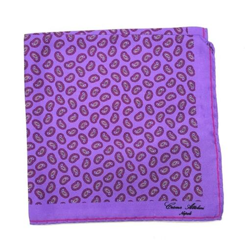 Cesare Attolini Purple Paisley Silk Pocket Square NWT Handmade Italy