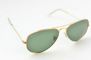 c728c2852f RAY-BAN RB3025 AVIATOR LARGE METAL 001 58 58-14 Gold G-15 POLARIZED ...