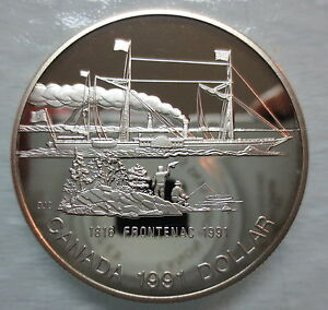 1991-CANADA-PROOF-FRONTENAC-SILVER-DOLLAR-HEAVY-CAMEO-COIN