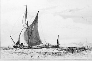 THAMES-BARGE-Boat-off-Northfleet-England-Antique-Etching-Print-by-E-W-Cooke