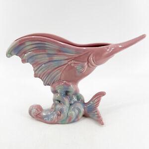 Vintage Royal Haeger USA Swordfish Marlin Planter Vase Pink Blue Green R271 MCM