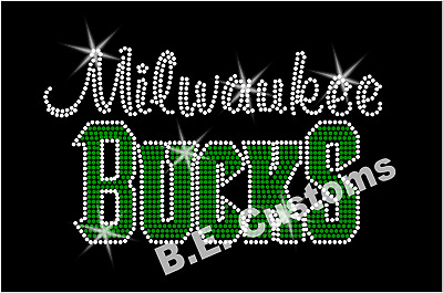 "Iron On Rhinestone Transfer /""Milwaukee Bucks/"" Hotfix Bling"