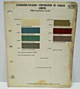 1963  STUDEBAKER - PACKARD CANADA CAR COLOR CANADIAN PAINT CHIP DUPONT CHART