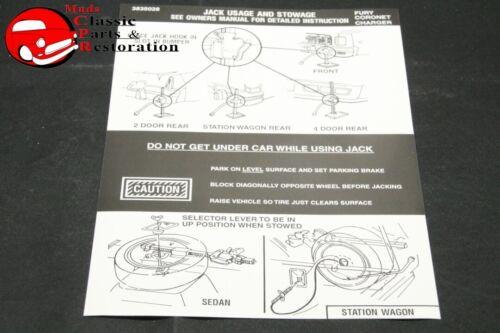 75-76 Fury Coronet Charger Jack Instructions Decal Mopar Part # 3835028