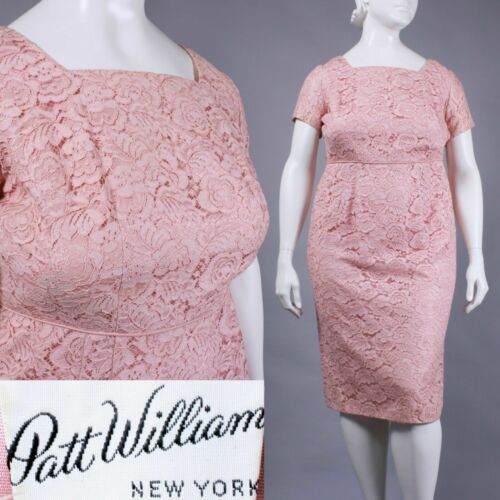XL 18 Vintage 1950s Patt William Pink Lace Wiggle