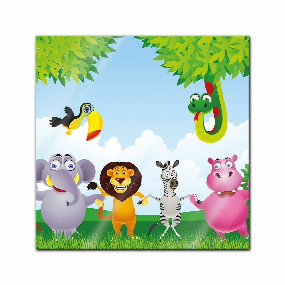 Immagine di vetro-bambini immagine giungla giungla giungla animali cartoon 58925b