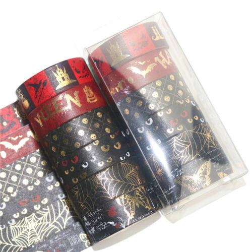 6 Rolls Halloween Bronzing Washi Tape Paper Sticker DIY Scrapbooking Diary Decor